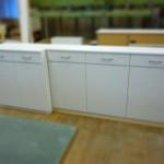 奥行の違うキッチン収納棚